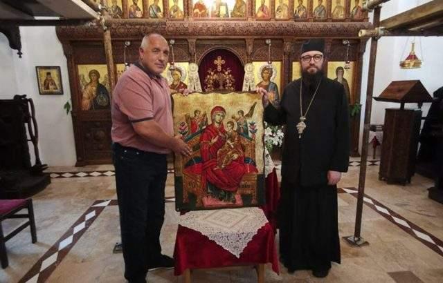 Бойко Борисов дари икона от Атон на манастира в Банкя